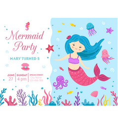 Mermaid party cute princess birthday invitation vector