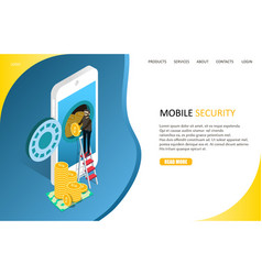 Mobile security landing page website vector