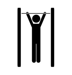 Monochrome pictogram of gymnast in horizontal bar vector
