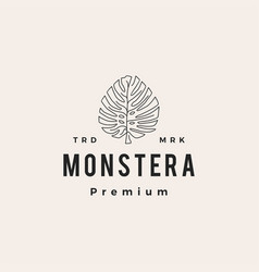 monstera leaf hipster vintage logo icon vector image