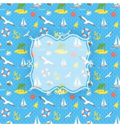 Nautical Icons background with blurred label vector image