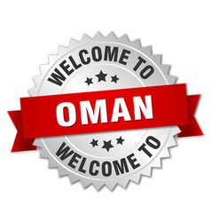 Oman 3d silver badge with red ribbon vector