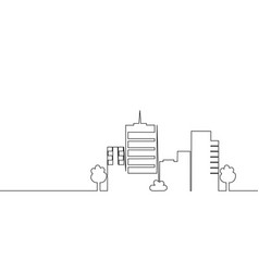 one line city building vector image