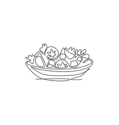 one single line drawing fresh healthy vector image