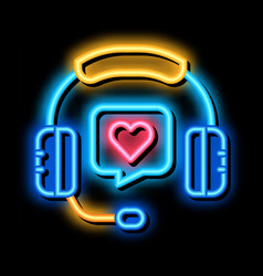 Online support call center neon glow icon vector