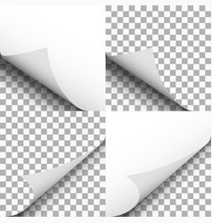 Pages curl set papers corner with shadow blank vector