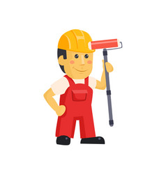painter builder worker characters with painting vector image