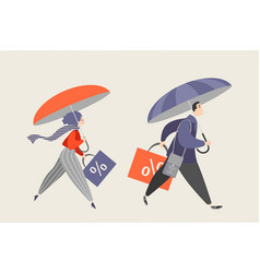 people with umbrellas and big shopping bags vector image