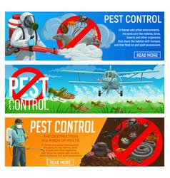 Pest control service banners deratization vector