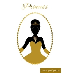 Princess silhouette in gold glitter frame Cameo vector