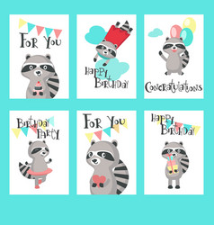 raccoon birthday cards template set vector image