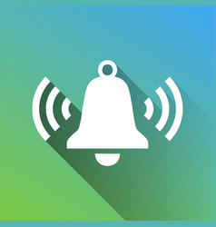 Ringing bell icon white icon with gray dropped vector