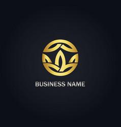 round leaf organic gold logo vector image