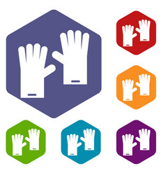 Rubber gloves icons set vector