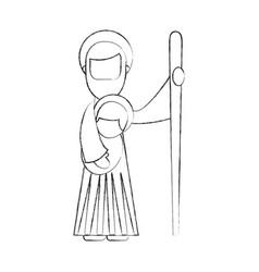 saint joseph holding baby jesus christ christmas vector image
