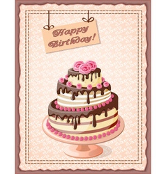 Scrapbooking birthday card with cake tier vector