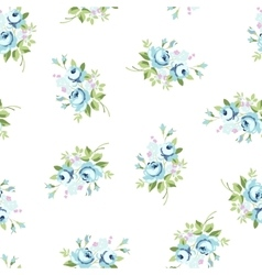 Seamless floral pattern with blue rose vector image