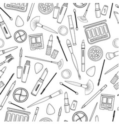 seamless pattern with decorative cosmetics hand vector image