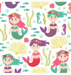 seamless pattern with mermaid under sea vector image