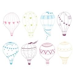set of hand drawn air balloons vector image