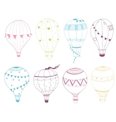 Set of hand drawn air baloons vector image
