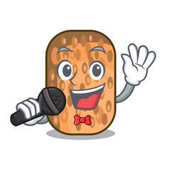Singing fried tempeh snack above cartoon leaf vector