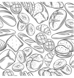 Sketch bread seamless pattern vector