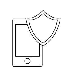 smartphone shield server banner icon vector image