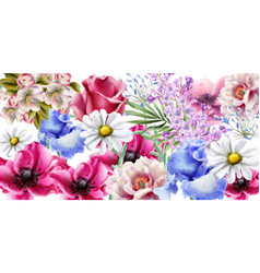 Spring flowers bouquet card watercolor vector