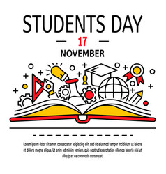 students day concept background outline style vector image