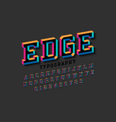 stylised colorful 3d font edge alphabet letters vector image