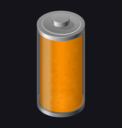 Transparent glass battery orange color vector