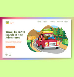 travel car in search new adventures landing vector image