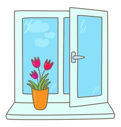 Tulips in a vase on a window sill vector
