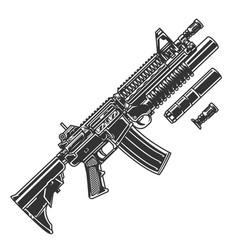Vintage modern automatic assault rifle template vector