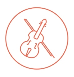 Violin with bow line icon vector image