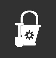 White icon on black background shovel and bucket vector