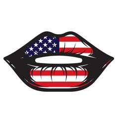 With american flag inside contour vector