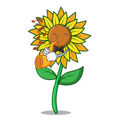 with trumpet sunflower mascot cartoon style vector image