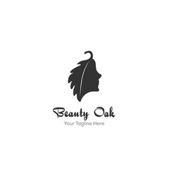 woman and oak leaves logo designs inspiration vector image