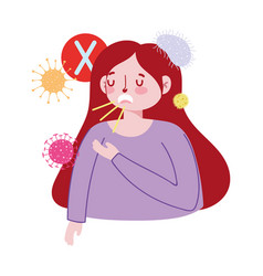 Woman with dry cough design vector
