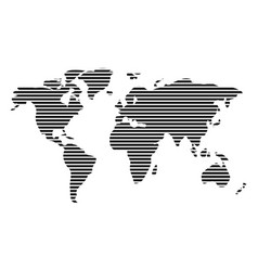world map in horizontal stripes bars - abstract vector image