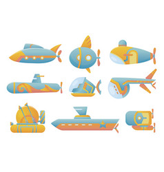 yellow and blue submarine set undersea cartoon vector image