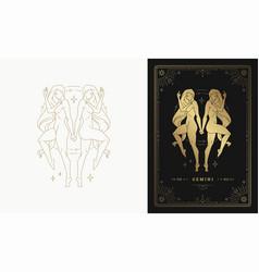 Zodiac gemini girl character horoscope sign line vector