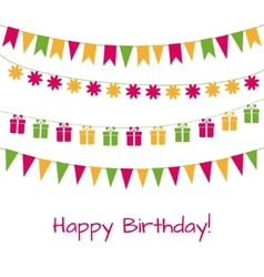 Birthday greeting card with garlands vector image vector image