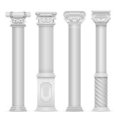 realistic white antique roman column set vector image vector image