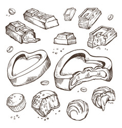 set of sketches bitten chocolates sweet vector image vector image