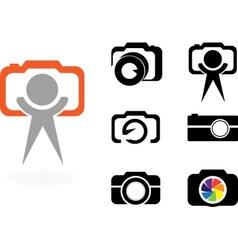 set of stylized photo cameras vector image