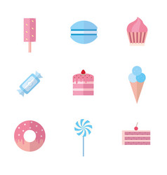 set of sweet food icons flat style vector image vector image