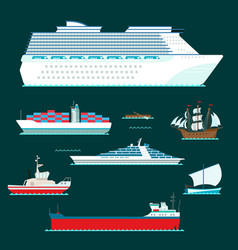 ship cruiser boat sea symbol vessel travel vector image vector image